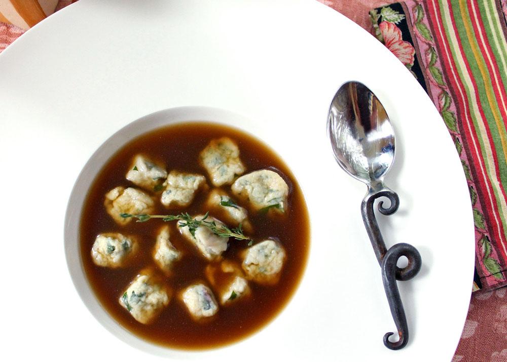 Swiss Chard Gnudi with Mushroom Consommé