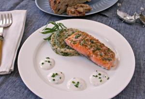 Slow Roasted Salmon with Skillet Barley & Broccolini & Horseradi
