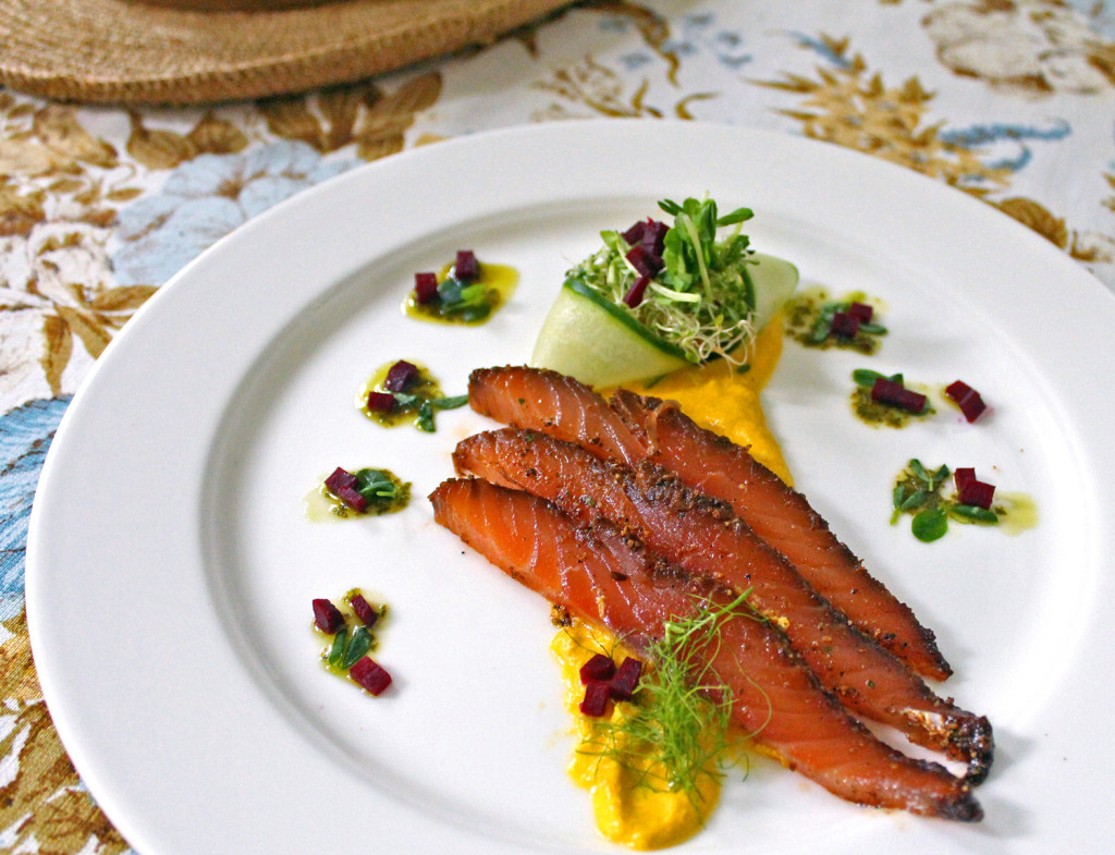 Pastrami-Cured Salmon with Yellow Pepper Sabayon & Poached Beet